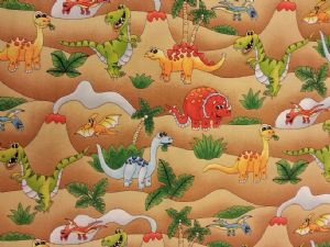 NEW! JURASSIC DINOSAURS - Fabric 100% Cotton - Price Per Metre
